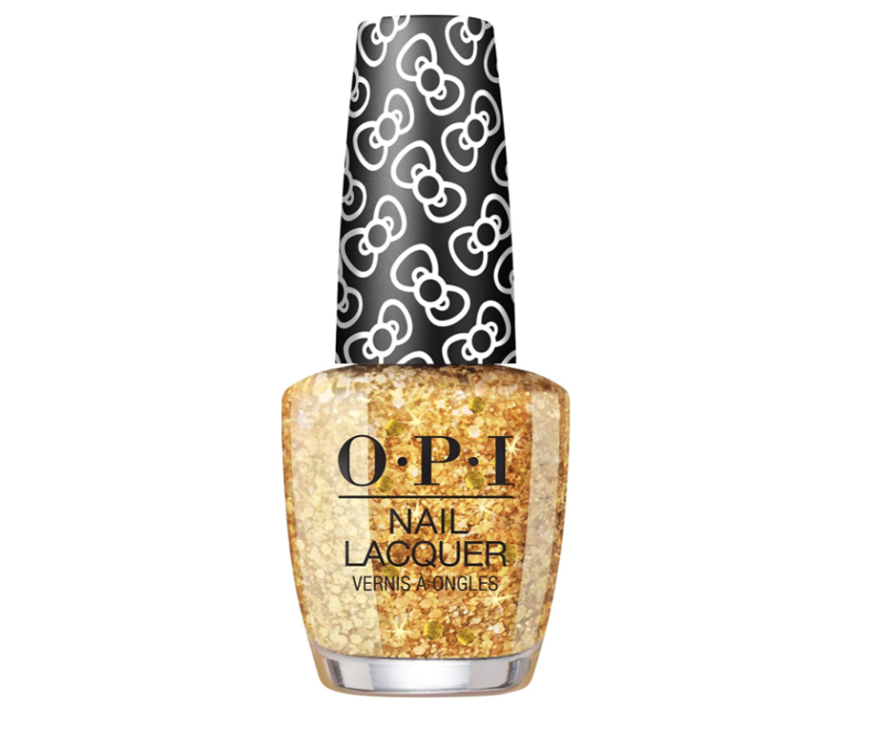 "<p><strong>OPI</strong></p><p>amazon.com</p><p><strong>$10.50</strong></p><p><a href=""https://www.amazon.com/dp/B07TF9S1WK?tag=syn-yahoo-20&ascsubtag=%5Bartid%7C10058.g.33514428%5Bsrc%7Cyahoo-us"" rel=""nofollow noopener"" target=""_blank"" data-ylk=""slk:SHOP IT"" class=""link rapid-noclick-resp"">SHOP IT</a></p><p>If you're going for gold, go big. Apply two thick coats of the round, gilded flakes to cover the whole nail in reflective sparkle. </p>"