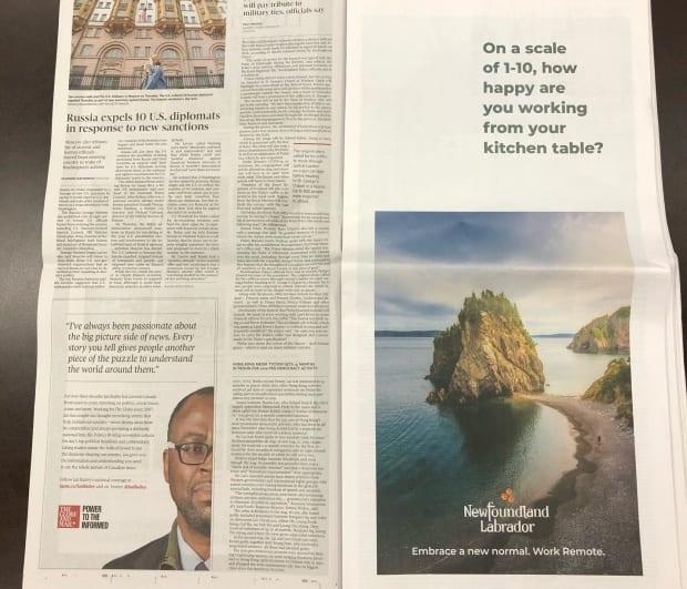 This one-page spread is the start of the Tourism Department's marketing push to draw remote workers to the province.