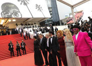 Jury members Mati Diop, from left, Kleber Mendonca Filho, Jessica Hausner, Tahar Rahim, Mylene Farmer, Melanie Laurent, and Spike Lee pose for photographers upon arrival at the premiere of the film ???Annette??? and the opening ceremony of the 74th international film festival, Cannes, southern France, Tuesday, July 6, 2021. (Photo by Vianney Le Caer/Invision/AP)
