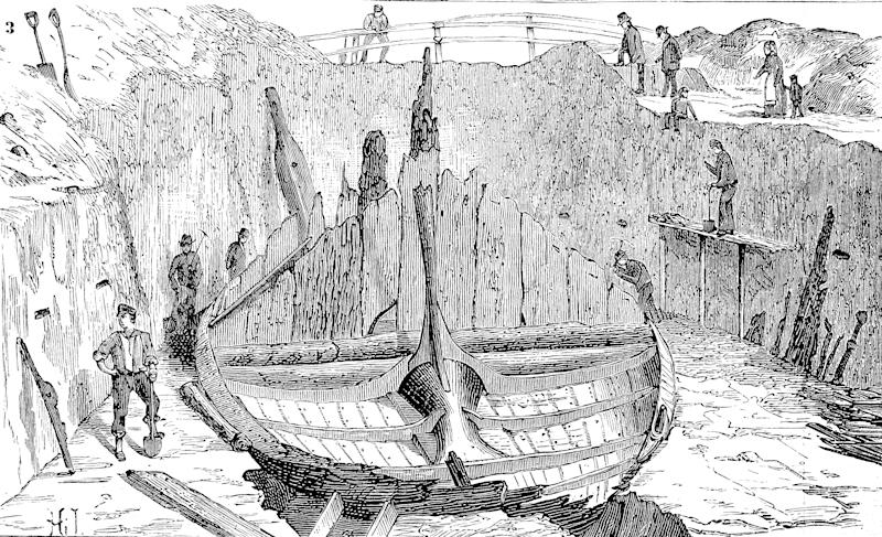 Digital improved reproduction, The Gokstad ship is a 9th-century Viking ship found in a burial mound at Gokstad in Sandar, Sandefjord, Vestfold, Norway, from an original print from the 19th century. (Photo by: Bildagentur-online/Universal Images Group via Getty Images)