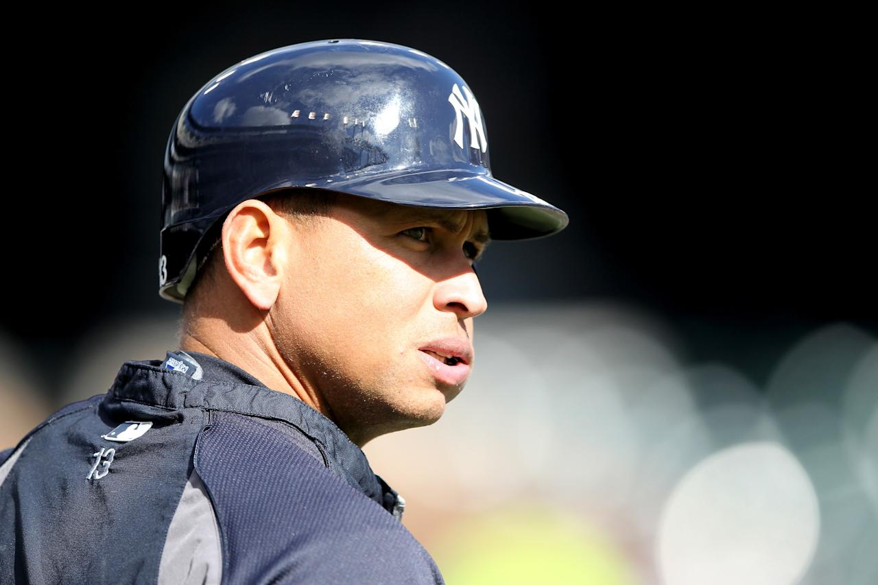 DETROIT, MI - OCTOBER 18:  Alex Rodriguez #13 of the New York Yankees looks on during batting practice against the Detroit Tigers during game four of the American League Championship Series at Comerica Park on October 18, 2012 in Detroit, Michigan.  (Photo by Leon Halip/Getty Images)