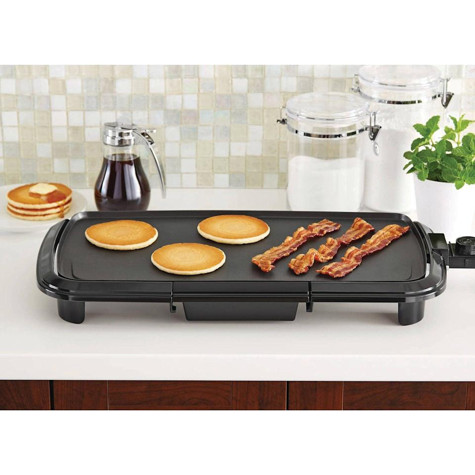 <p>This <span>Mainstays Dishwasher-Safe Black Griddle</span> ($20, originally $31) is so easy to use!</p>