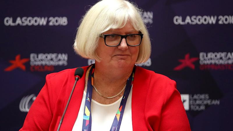 Jane Allen, pictured here speaking to the media at the Glasgow 2018 European Championships.