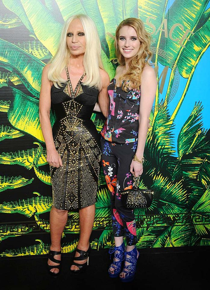To kick off their partnership, bargain fashion retailer H&M and designer Donatella Versace (pictured here with Emma Roberts) threw a launch party and fashion show Tuesday night at New York City's Pier 57 on the Hudson River. (11/8/2011)