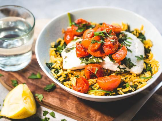 Dishes are healthy and easy to cook, like this cod and lemon risotto with roasted tomatoes (Mindful Chef)