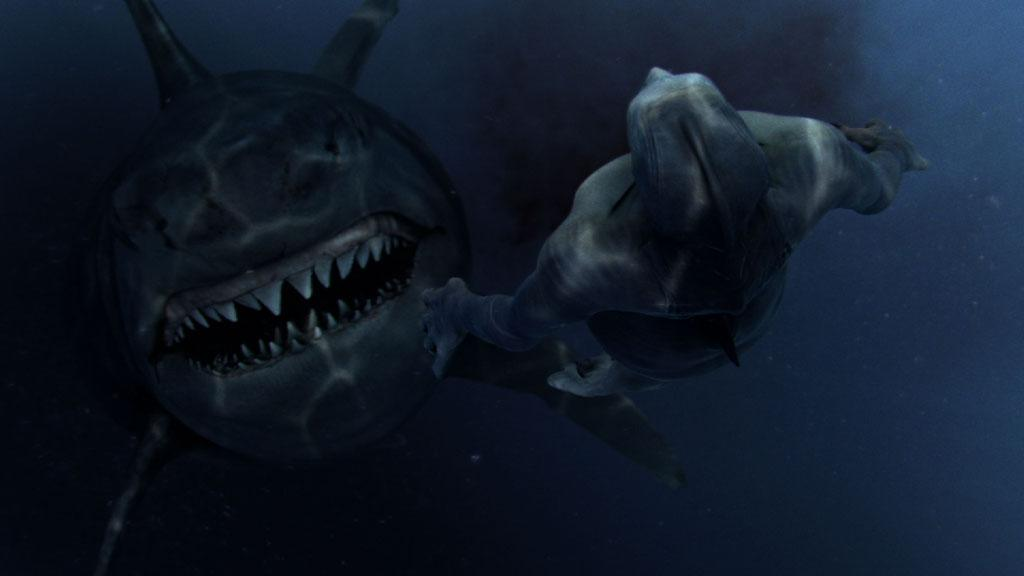 A moment before the mermaid is swallowed by a megalodon shark after sacrificing his life to save the rest of the pod.