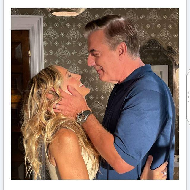 """<p>Sharing a glimpse of the long-awaited reunion, Parker posted a photo with Noth aka Carrie and Big.</p><p><a href=""""https://www.instagram.com/p/CSQJpuDr79F/"""" rel=""""nofollow noopener"""" target=""""_blank"""" data-ylk=""""slk:See the original post on Instagram"""" class=""""link rapid-noclick-resp"""">See the original post on Instagram</a></p>"""