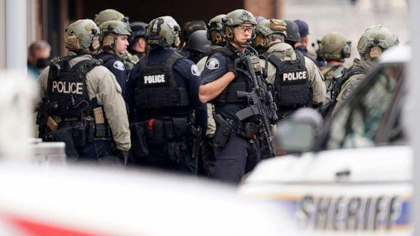 PHOTO: Police outside a King Soopers grocery store where a shooting took place March 22, 2021, in Boulder, Colo. (David Zalubowski/AP)