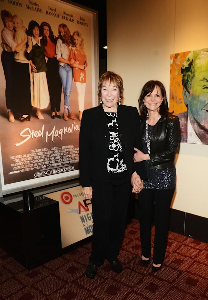 "HOLLYWOOD, CA - APRIL 24:  Actresses Shirley MacLaine (L) and Sally Field pose during a screening of  ""Steel Magnolias"" at Target Presents AFI's Night at the Movies at ArcLight Cinemas on April 24, 2013 in Hollywood, California.  (Photo by Araya Diaz/Getty Images for AFI)"