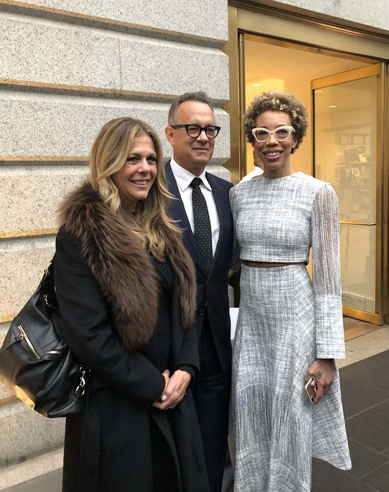 Rita Wilson and Tom Hanks with Amy Sherald.