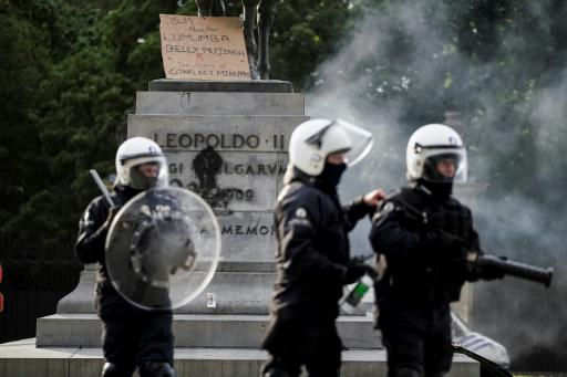 Riot police protected the King Leopold II of Belgium statue during an anti-racism protests in Brussels