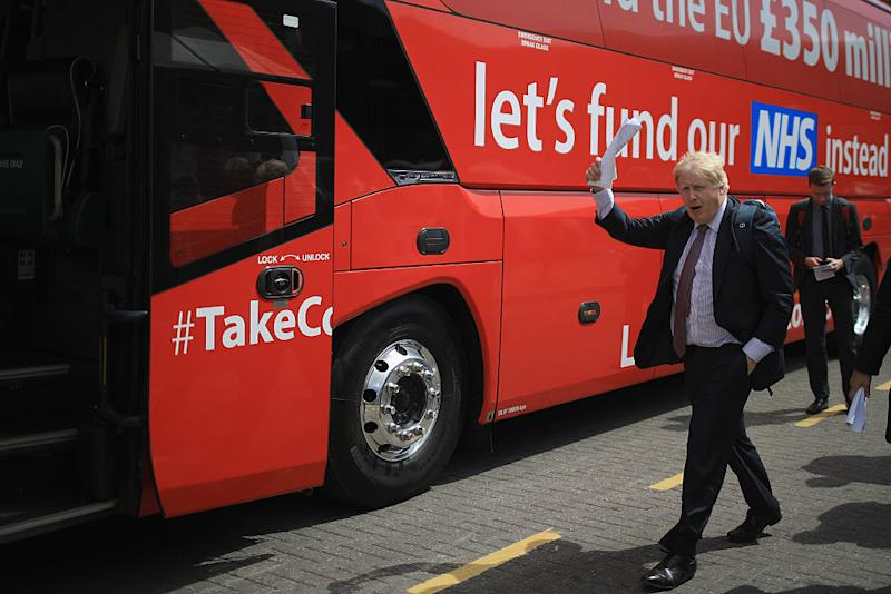 Boris Johnson and the Vote Leave campaign are touring the UK in their Brexit Battle Bus. The campaign is hoping to persuade voters to back leaving the European Union in the Referendum on the 23rd June 2016. Source: Getty