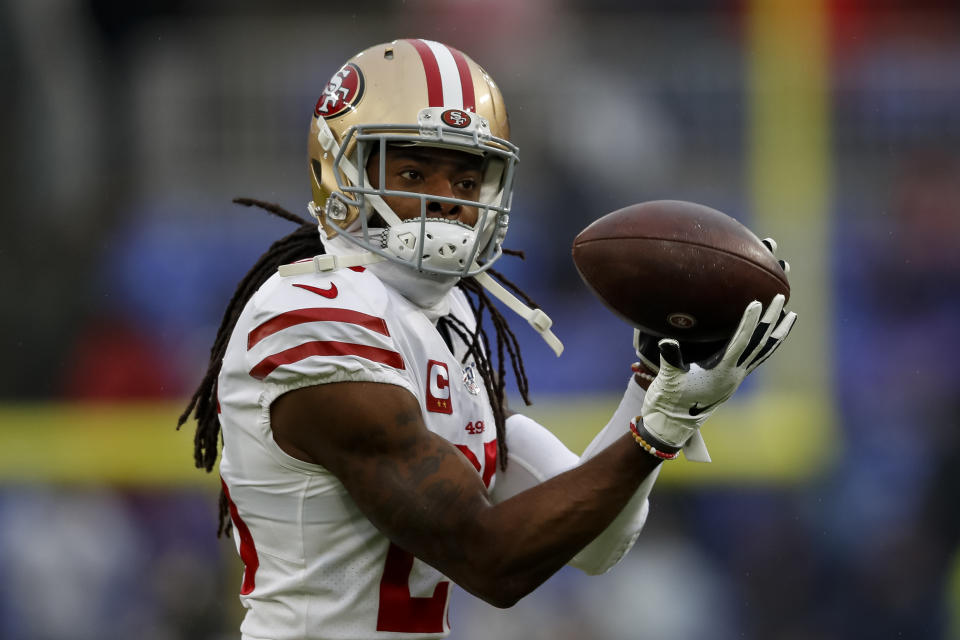 49ers cornerback Richard Sherman suffered a hamstring injury against the Saints. (Scott Taetsch/Getty Images)