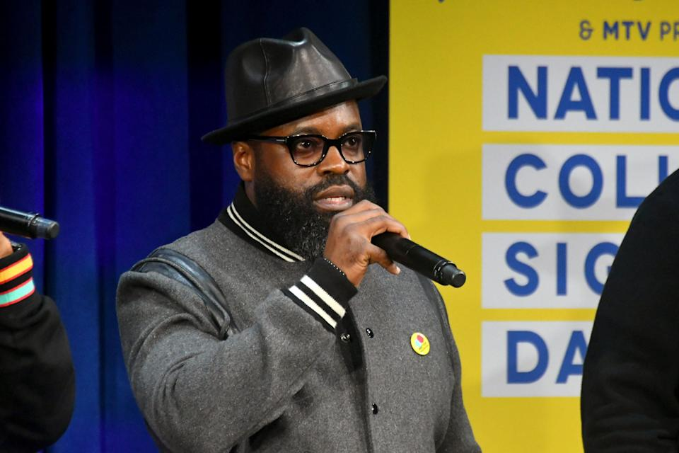 NEW YORK, NY - MAY 05:  Black Thought speaks onstage during the MTV's 2017 College Signing Day With Michelle Obama at The Public Theater on May 5, 2017 in New York City.  (Photo by Mike Coppola/Getty Images for MTV)