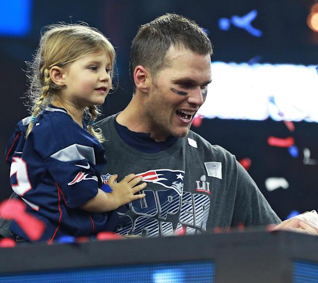 "Tom Brady stuck up for his 5-year-old daughter Vivian after a radio show host called her ""annoying."" (Photo: Getty Images)"