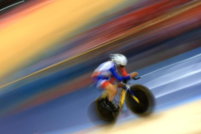 LONDON, ENGLAND - AUGUST 07: Clara Sanchez of France competes in the Women's Omnium Track Cycling 3km Individual Pursuit on Day 11 of the London 2012 Olympic Games at Velodrome on August 7, 2012 in London, England. (Photo by Phil Walter/Getty Images)
