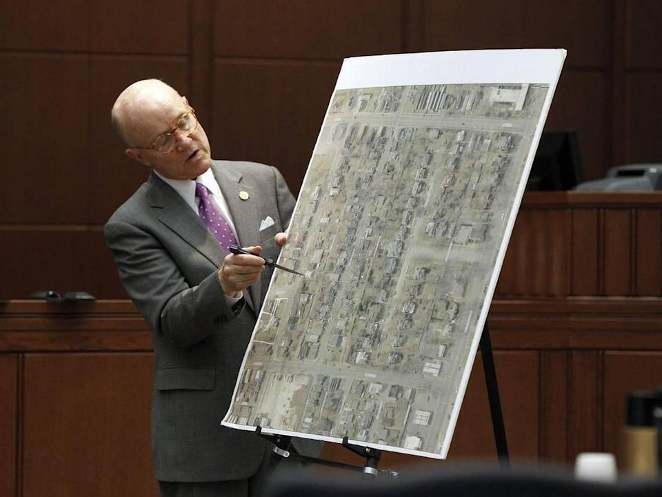 Commonwealth's Attorney Ray Larson presented his closing arguments during the Glenn Doneghy murder trial in Fayette County Circuit Court, Wednesday, June 29, 2011. Doneghy was charged with murder in the hit-and-run death of Lexington police officer Bryan J. Durman. Doneghy, 34, is accused of using his vehicle to deliberately hit and kill Durman, 27, on April 29, 2010, as Durman was investigating a noise complaint on North Limestone.