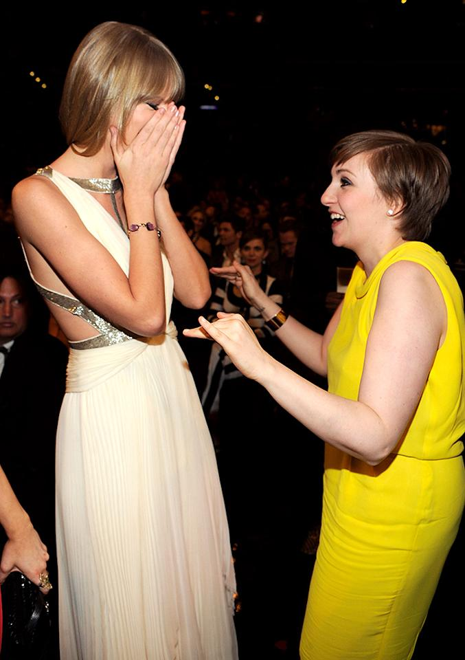LOS ANGELES, CA - FEBRUARY 10:  Taylor Swift and Lena Dunham attend  the 55th Annual GRAMMY Awards at STAPLES Center on February 10, 2013 in Los Angeles, California.  (Photo by Kevin Mazur/WireImage)