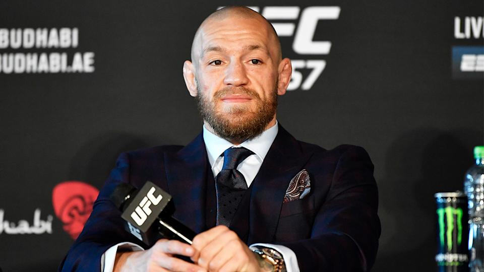 Conor McGregor (pictured) at a press conference after his loss to Dustin Poirier.