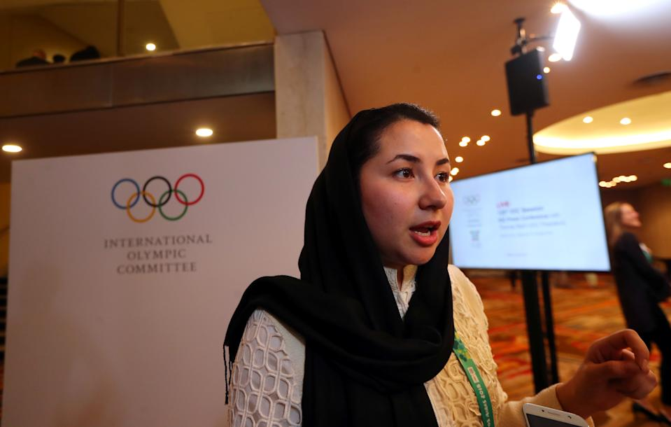 Samira Ashgari from Afghanistan, new member of the International Olympic Committee (IOC), talks to journalists at the end of the 133rd IOC session in Buenos Aires, Argentina October 9, 2018. REUTERS/Marcos Brindicci