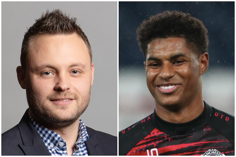 Free school meals clash: Ben Bradley and Marcus Rashford. (UK Parliament, Attribution 3.0 Unported (CC BY 3.0)/Getty Images)