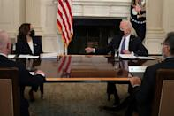 US President Joe Biden at a White House meeting tasks Vice President Kamala Harris with handling the influx of migrants over the Mexican border