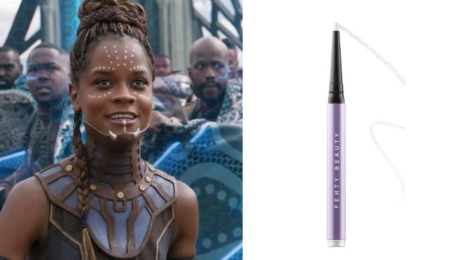 Shuri in Black Panther, Fenty Flypencil Longwear Pencil Eyeliner. Images via Disney Studios, Sephora