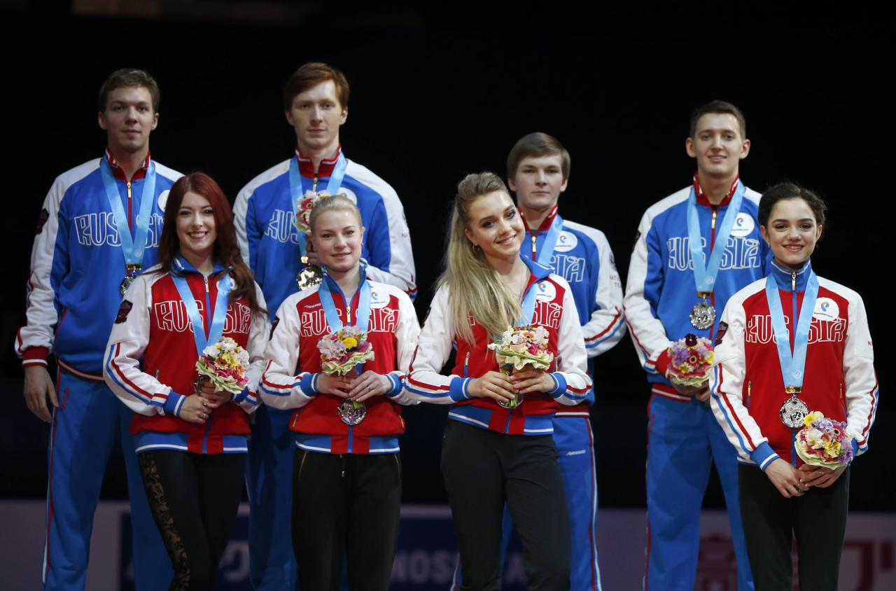 Figure Skating - ISU World Team Trophy -  Award Ceremony - Tokyo, Japan - 22/4/17 - Russia's players with their silver medals. REUTERS/Toru Hanai