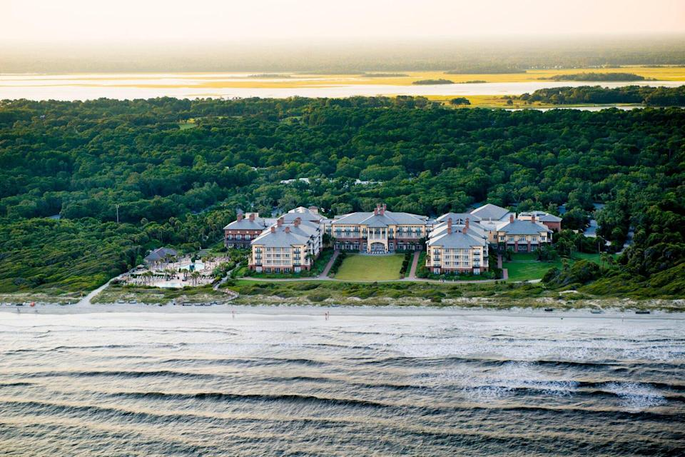 The Sanctuary at Kiawah Island scene from the sky above with the greenery and ocean coastline