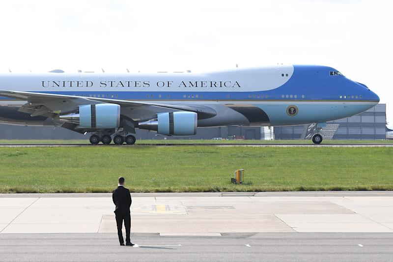 Air Force One lands at Stansted Airport on June 3, 2019, in London. (Photo: Leon Neal/Getty Images)