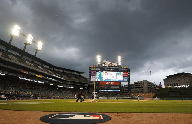 Detroit Tigers' Harold Castro bats during the second inning of the team's baseball game against the Tampa Bay Rays, Wednesday, June 5, 2019, in Detroit. (AP Photo/Carlos Osorio)