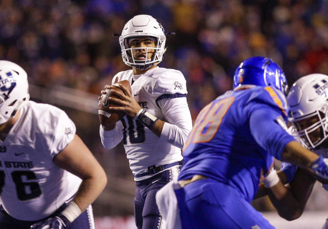 Utah State quarterback Jordan Love (10) looks downfield against Boise State last season. (AP)