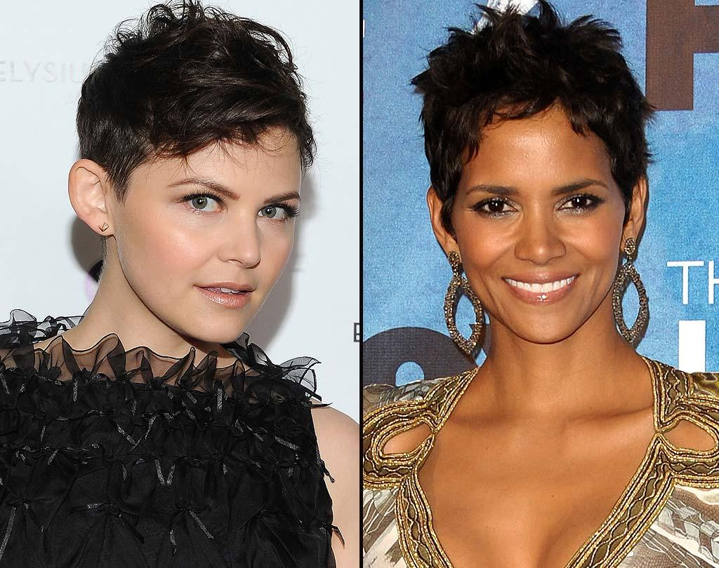 """Ooh, a toughie! """"Big Love's"""" Ginnifer Goodwin earns extra credit for adding a dose of glam we didn't know she had in her with this daring 'do, but Halle Berry's breathtaking beauty means that she's always the winner where we're concerned! <a href=""""http://www.wireimage.com"""" target=""""new"""">WireImage.com</a> - March 1, 2011"""