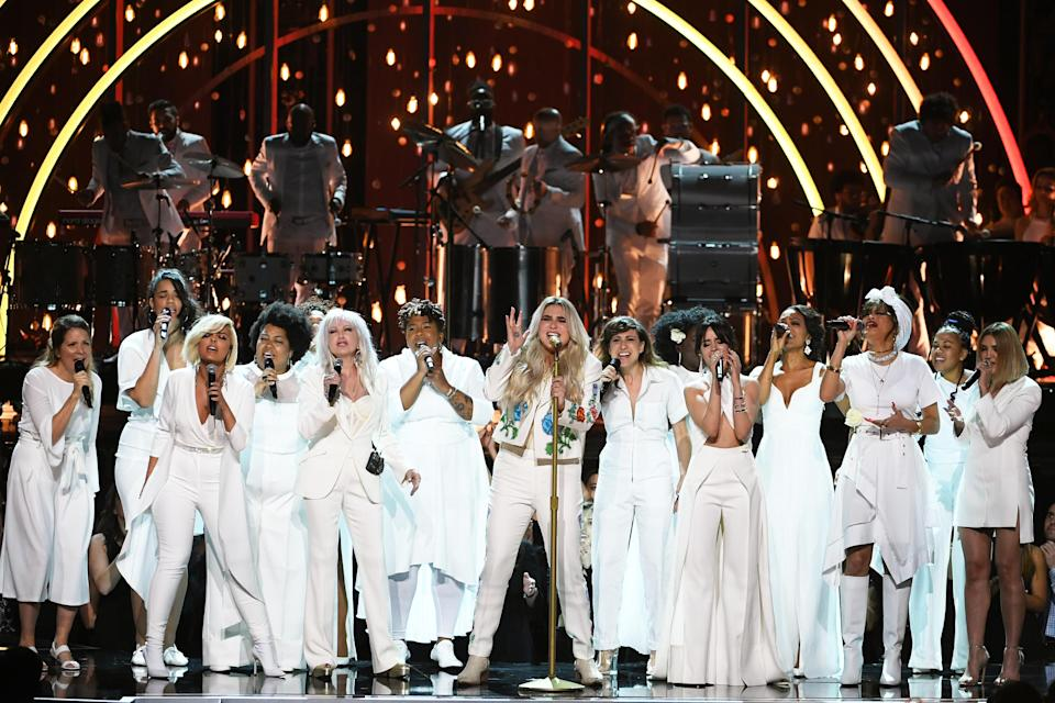 Kesha, all-stars, and the Resistance Revival Chorus at the 60th Annual Grammy Awards. (Photo: Kevin Winter/Getty)