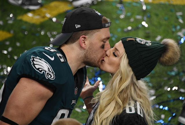 Philadelphia Eagles tight end Zach Ertz (86) kisses his wife Julie Ertz after defeating the New England Patriots in Super Bowl LII at U.S. Bank Stadium. Mandatory Credit: Kirby Lee-USA TODAY Sports