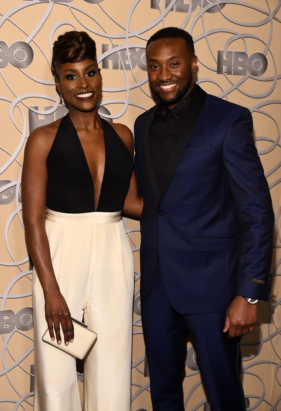 LOS ANGELES, CA - JANUARY 08:  Actress Isaa Rae (L) and Louis Diame arrive at HBO's Official Golden Globe Awards After Party at Circa 55 Restaurant on January 8, 2017 in Los Angeles, California.  (Photo by Amanda Edwards/WireImage)