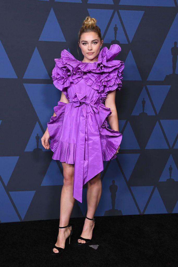 <p>The actor wore a purple, ruffled mini dress to the Academy Of Motion Picture Arts And Sciences' 11th Annual Governors Awards, October 2019. </p>