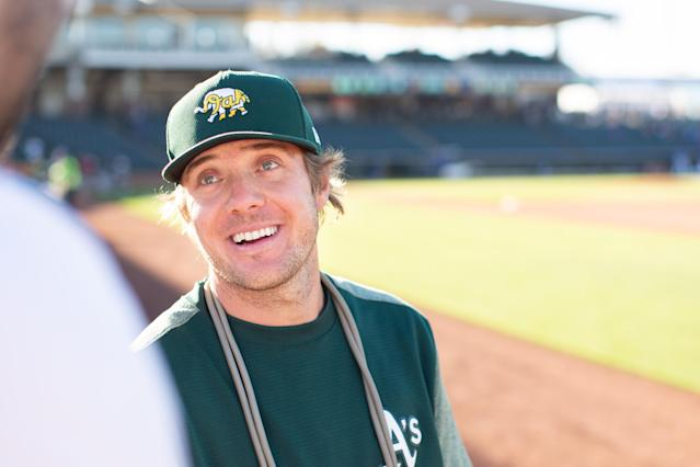 A's minor leaguer Peter Bayer has turned to DoorDash to make money while baseball is shut down. (Nicole Smith/Nico Marie Photo/Special to Yahoo Sports)
