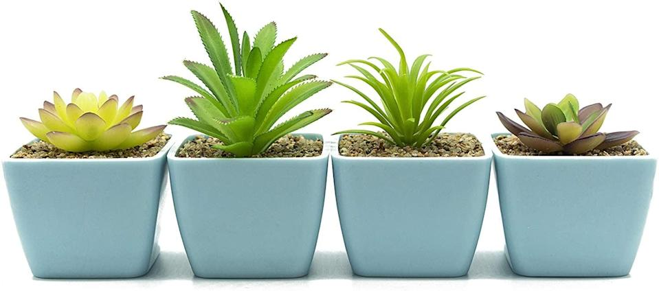 <p>The <span>Artificial Succulent Plants in Light Blue Plastic Pots</span> ($23) will brighten up any room!</p>
