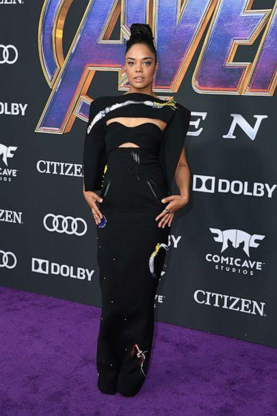 PHOTO: Actress Tessa Thompson arrives for the World premiere of Marvel Studios' 'Avengers: Endgame' at the Los Angeles Convention Center on April 22, 2019, in Los Angeles. (Valerie Macon/AFP/Getty Images)