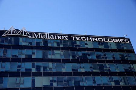 FILE PHOTO: The logo of Mellanox Technologies is seen at the company's headquarters in Yokneam, in northern Israel July 26, 2016. REUTERS/Ronen Zvulun