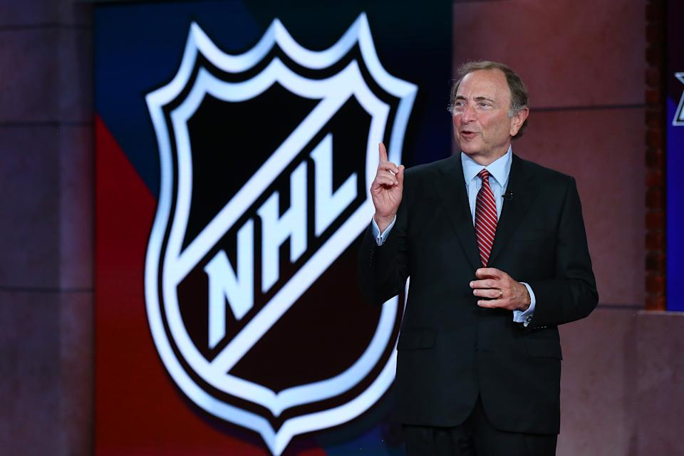 SECAUCUS, NEW JERSEY - AUGUST 10: Commissioner of the National Hockey League Gary Bettman is interviewed during Phase 2 of the 2020 NHL Draft Lottery on August 10, 2020 at the NHL Network's studio in Secaucus, New Jersey. (Photo by Mike Stobe/NHLI via Getty Images)