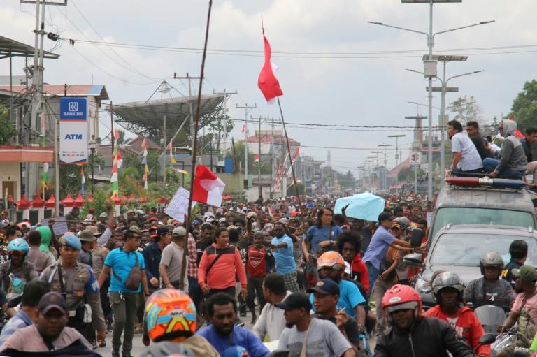 Protesters rally in Timika in Indonesia's restive Papua province