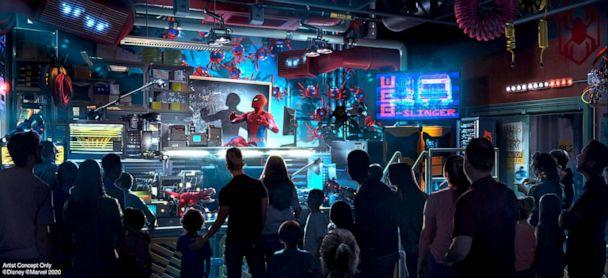 PHOTO: An artist concept image of the interior of the WEB SLINGERS: A Spider-Man Adventure ride opening in summer 2020 at the Avengers Campus inside Disney California Adventure Park. (Disneyland Resort)