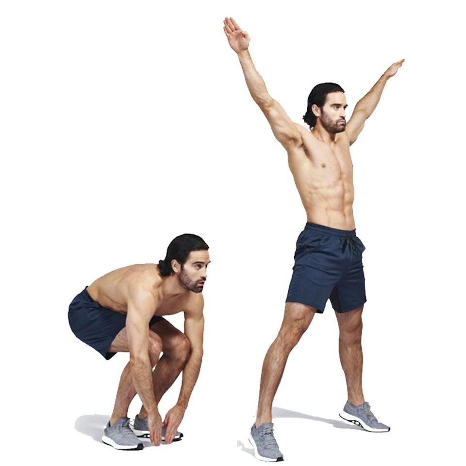 <p>30sec on, 30sec off</p><p>Stand with your back straight and your feet together. Squat down halfway, then explode upward, extending your arms and feet to the side. Tuck them back in as you descend and land softly. Repeat without pausing.</p>