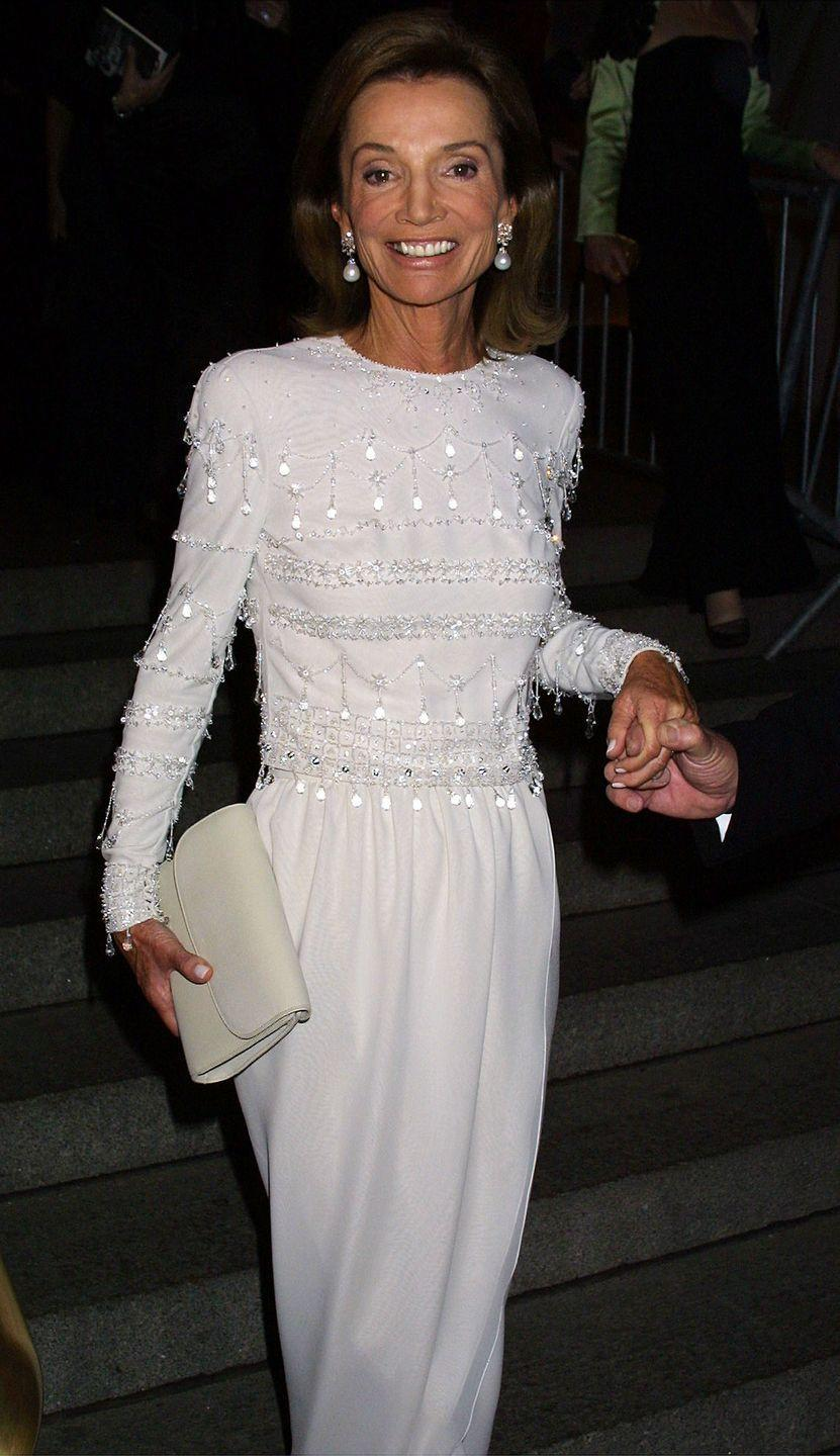 <p>Wearing a beaded white dress at the 2001 Met Gala, which celebrated the 40th anniversary of Jacqueline Kennedy's beginning as First Lady. </p>