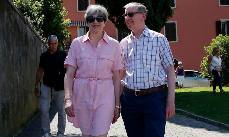Theresa May on holiday in Italy with her husband, Philip.