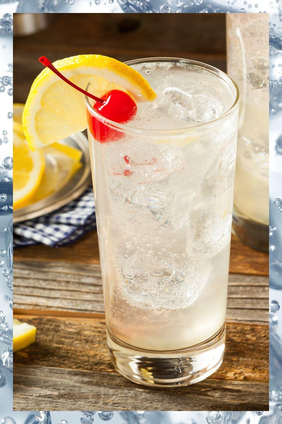 <p>Essentially a sour topped with club soda, the Tom Collins is a classic cocktail that's as easy and delicious to whip up at home as it is at your favorite bar. For a truly traditional version, opt for an Old Tom style gin. </p><p>- 2 oz Old Tom gin<br>- 1 oz lemon juice<br>- .5 oz simple syrup<br>- Club soda to top</p><p><em>Build all ingredients in a glass with ice and stir gently to combine. Garnish with a lemon slice and a cherry. </em></p>