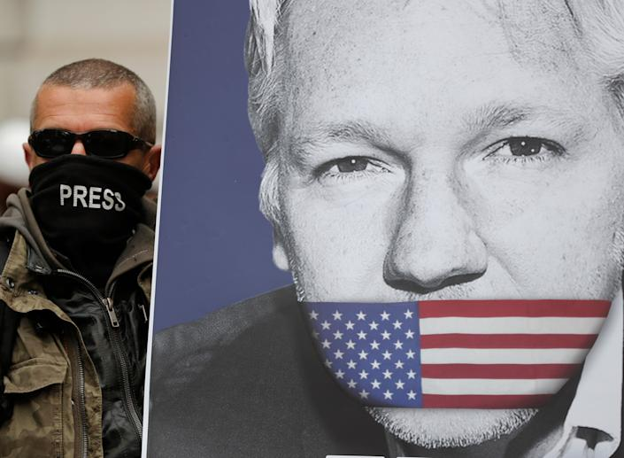 A supporter of Julian Assange with a poster of the WikiLeaks founder in London on May 2, 2019.