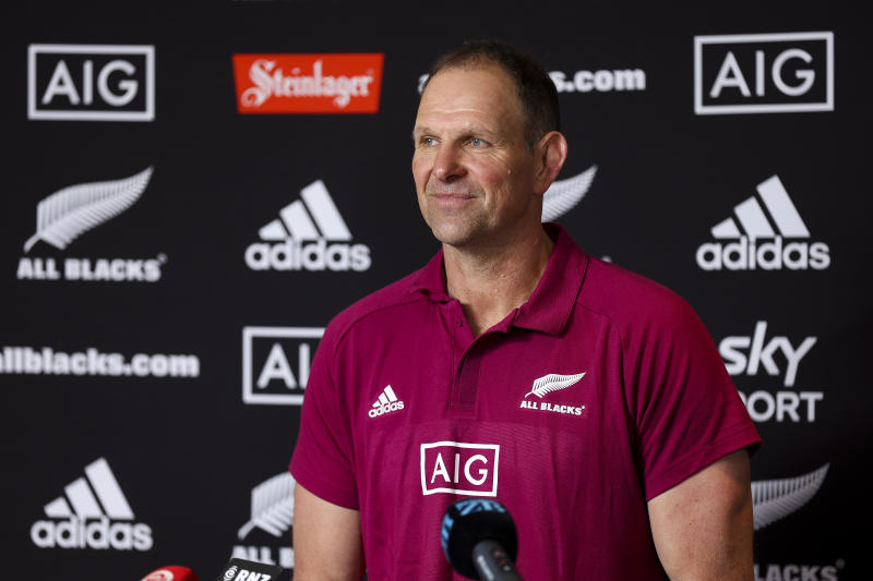 Assistant coach John Plumtree speaks to media during a New Zealand All Blacks press conference at Intercontinental Hotel on October 07, 2020 in Wellington, New Zealand.